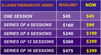 K-Laser Therapy on promotional pricing in Woodlawn, Illinois